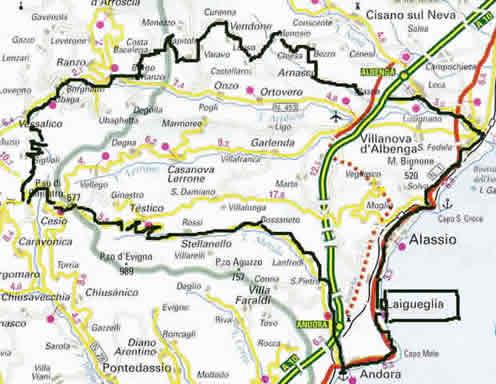 percorso della gf di Laigueglia (Sv)