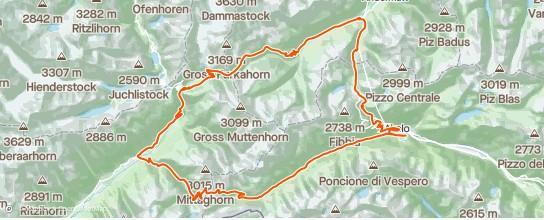 Il percorso che partendo dal Ticino va nel Vallese poi il Canton Uri per rientrare nel Ticino.