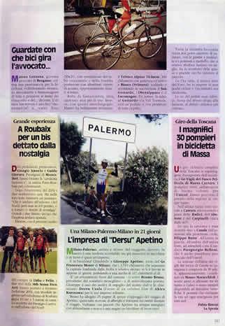 Pagina della rivista di ciclismo amatoriale che ha riportato la notizia
